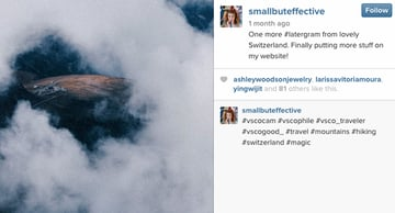 A screenshot from Instagram showing hashtags in action