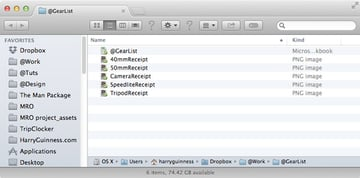 gear list folder