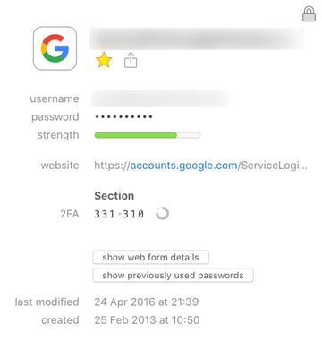 how one time passwords appear in 1password