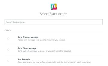 slack actions in Zapier