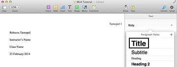 Styling document title in Pages