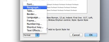 Select paragraph formatting in Microsoft Word