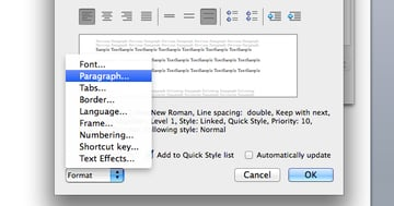 Select paragraph formatting style in Microsoft Word