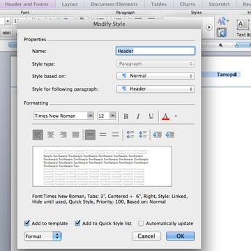 Set header font in Microsoft Word