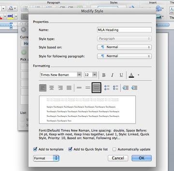 Set heading font and size in Microsoft Word