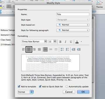 Set title font in Microsoft Word