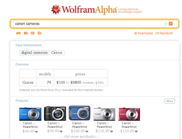 A brand-specific search for Canon cameras