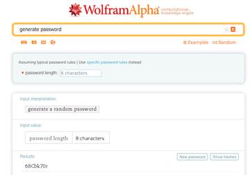 WolframAlpha generates random secure passwords