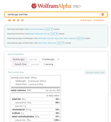 A WolframAlpha search for nutritional value of hamburger and fries