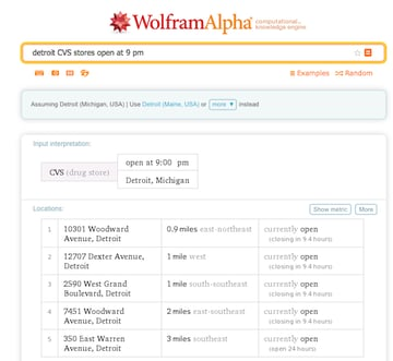 A WolframAlpha search for Detroit CVS stores open at 9 PM