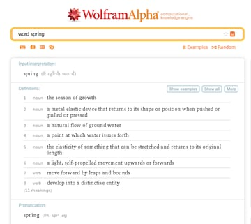 A WolframAlpha search for the word spring