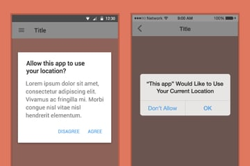 Example of alert dialogues for Android and iOS using location as an example