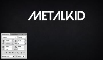 Type the word Metalkid using Strasua font