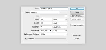 Create a new document to the text design