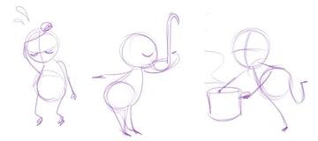 Action stick figure gestures