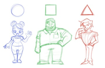 Character sketches from basic shapes