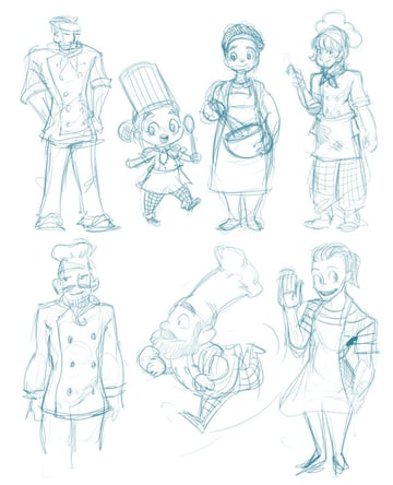 Character concept sketches