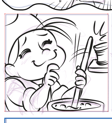 Square comic panel using clipping mask