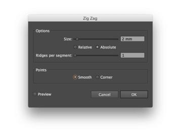 Zig Zag options Size 2 mm Absolut 1 Ridges per segment Smooth points