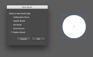 Create a Pattern Brush from a white circle object