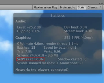 In Unity you can check your draw calls by the Stats button in Play Mode