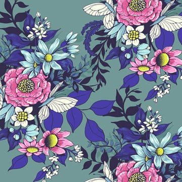 Make a floral pattern for fabric in PS - first repeat attempt