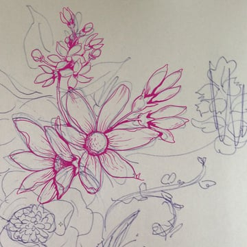 Make a floral pattern for fabric in PS - drawing clean lines