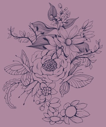 Make a floral pattern for fabric in PS - finished linework