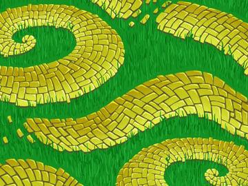 Brick Road and Poppy Field pattern - final pass of grass