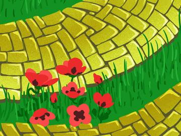 Brick Road and Poppy Field pattern - dark petal spots