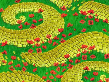 Brick Road and Poppy Field pattern - adding subtle sunshine