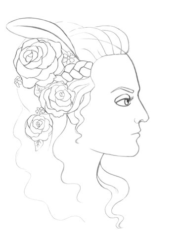 Drawing a braid and several hair strands