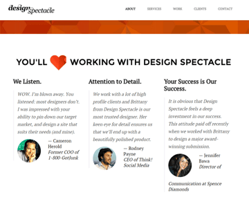 DesignSpectacle testimonial highlights