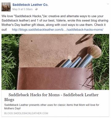 Saddleback Leather Co social share on Facebook