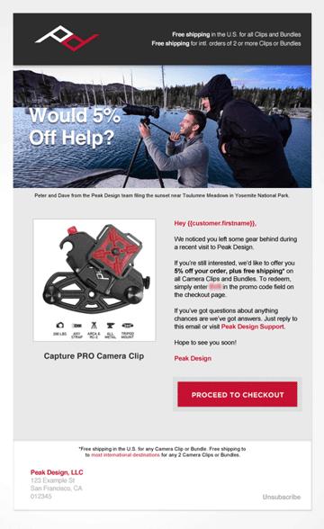 Peak Design email offer