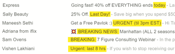 Examples of timely subject lines