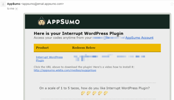 Email receipt example from AppSumo