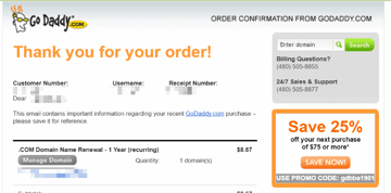 Email receipt example