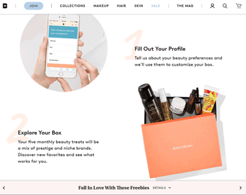Example of a subscription model