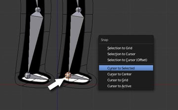Placing the cursor at the heel