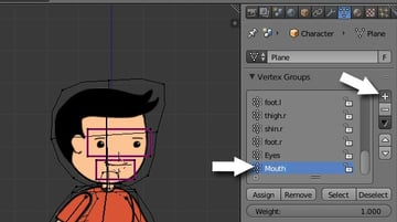 Creating new vertex group for mouth