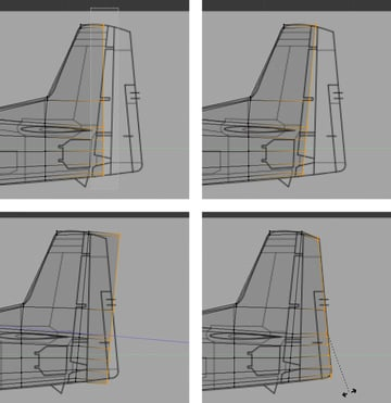 Select and extrude the faces to create rudder