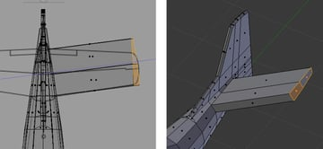 Extrude faces to create wings