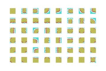 A sprite sheet of an example tileset
