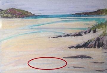 Beach sketch on blue paper
