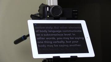 iPad teleprompter beneath video camera