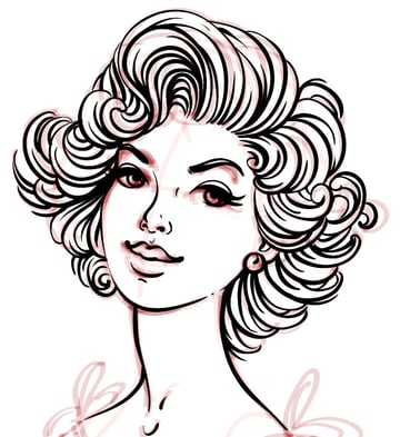contour of the hairstyle