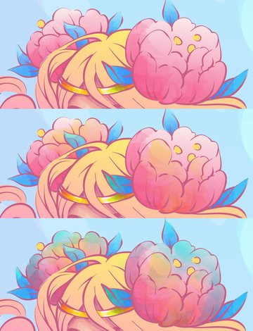 adding watercolor texture to flowers