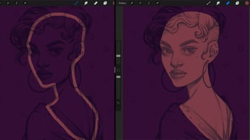 Neon Portrait Procreate Digital Drawing Tutorial create the body main shape