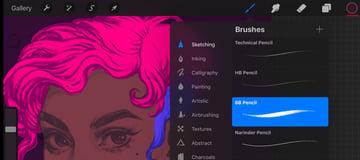 Neon Portrait Procreate Digital Drawing Tutorial choose the brush